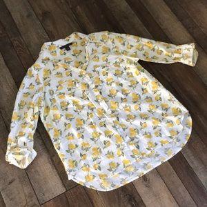 🍋 Gloria Vanderbilt women's sz L top lemons euc